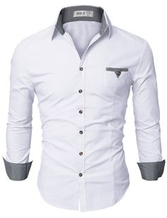 Doublju Mens Dress Shirt with Contrast Neck Band WHITE (US-S)