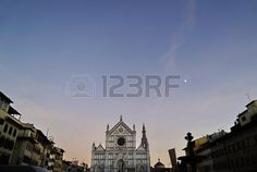 Santa croce square at sunset, Florence, Italy