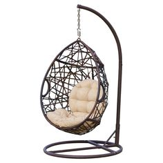 Stamford Wicker Tear Drop Hanging Basket Chair with Stand Turquoise Hanging Patio Egg Chair Belham Living Resin Wicker Hanging Egg Chair with Cushion and Stand Black Mocha Abate Outdoor Patio Swing Chair Wicker Swing, Egg Swing Chair, Hanging Swing Chair, Patio Swing, Hammock Chair, Hammock Stand, Swinging Chair, Egg Chair, Swing Chairs