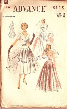 Advance 6125 Vintage 1950s Wedding, Cocktail and Evening Dress Sewing Pattern Sz 16. $75.00, via Etsy.