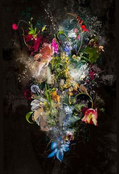 ✅ Buy the Artwork 'Bouquet XXIV' by Teis Albers : Painting Acrylic, Collage, Chalk, Ink on Canvas - ➽ Free Delivery ➽ Secure Payment ➽ Free Returns Art Floral, Paintings For Sale, Original Paintings, Ouvrages D'art, Wow Art, Photorealism, Art Graphique, Mixed Media Painting, Lovers Art