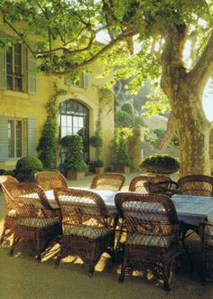 Provence village with its central square. From a Provence vacation. Outdoor Rooms, Outdoor Dining, Outdoor Gardens, Patio Dining, Dining Table, Outdoor Seating, Dining Sets, Patio Table, Backyard Seating