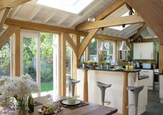 This oak framed kitchen extension was featured in  25 Beautiful Homes.