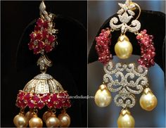 Diamond Ruby Jhumka and Chandbali Earrings Pakistani Jewelry, Indian Wedding Jewelry, Bridal Jewelry, Indian Jewellery Design, Jewelry Design, Bead Jewellery, Bridal Jewellery Inspiration, Traditional Earrings, India Jewelry