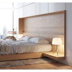 Que tal esse quarto? O projeto do arquiteto ucraniano Artem Trigubchak usa linhas limpas e cores neutras para criar uma atmosfera simples e contemporânea. A cama e a cabeceira de madeira foram desenhadas sob medida e estão totalmente integradas à arquitetura. #design #interiores #decor #arquitetura by arkpad
