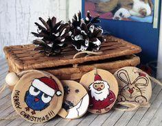 Wood Burned handmade cards Hand Painted Wood Slice Christmas Ornaments Snowman