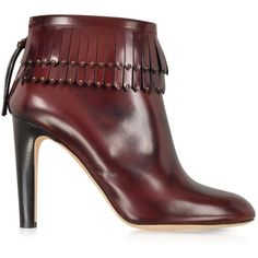 Marc Jacobs Burgundy Leather Fringed Boot ($338) ❤ liked on Polyvore featuring shoes, boots, ankle booties, heels, ankle boots, booties, short fringe boots, stacked heel bootie, studded booties and leather ankle boots