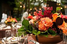 Scarlet Blooms fall inspired table centerpiece