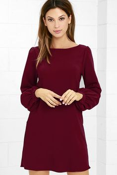 You'll be primed and ready in the Perfect Situation Burgundy Long Sleeve Shift…