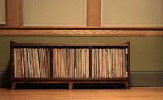 mid-century modern mcm record lp storage by brokenpress