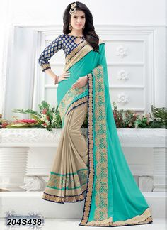 Enriching Blue Coloured Faux Georgette Embroidered Saree
