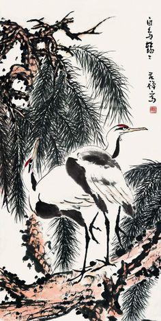 Li Kuchan (or Li Yan)(李苦禅) ,  双鹤图