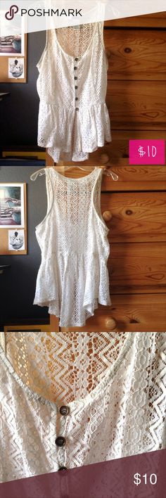 """High Low Light Cream Lace Peplum Tank Cream lace peplum tank with button down front. The tank features a scoop neckline and the back is about 2"""" longer than the front. Fits like a Juniors M. Tops Tank Tops"""