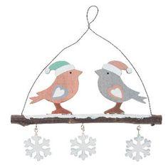 Ciondolo di legno - uccelli su rametto,