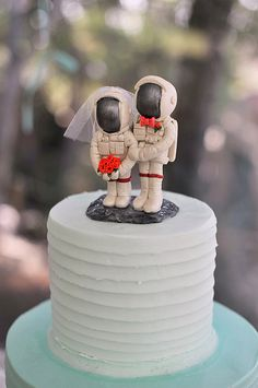 Astronaut Wedding Cake Toppers with Moon Base  by CherryRedToppers, $195.00