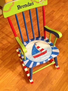 Hand Painted Childs Rocking Chair Nautical Theme Sail Boat Primary Colors Water