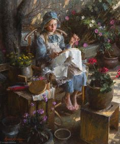 """The Needlepoint Artist"" -- by Morgan Weistling"