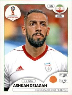panini 2018 world cup sticker number 186 ashkan dejagah Football Stickers, Football Cards, Football Players, Baseball Cards, Iran Soccer, Iran Football, World Cup Russia 2018, World Cup 2014, Sports