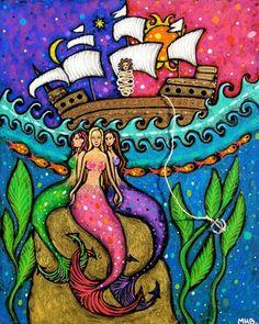 The Sirens, Margaret Blanchett  Folk Art mermaid mermaids sirens