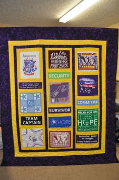 Relay For Life T-shirt quilt, made to be a raffle fundraiser.