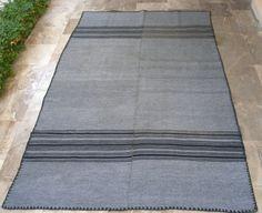 Silver Grey with Black and Carbon Stripes. Vintage Kilim Rug , Cottage chic Decor, Rustic Decor, Mediterranean Decor, Shabby chic Decor by VintageHomeStories, https://www.etsy.com/shop/VintageHomeStories