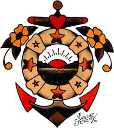 Sailor Jerry anchor (maybe lose the mountains in the middle and put waves insead, or turn floatation device into laurels?)