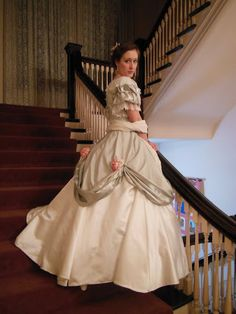 This Civil War-era gown was sewn almost completely by hand by this young lady. Description from pinterest.com. I searched for this on bing.com/images