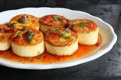pan-seared egg tofu with sweet chile sauce