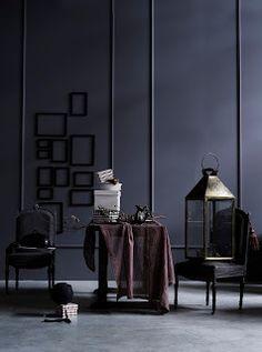 dark interior love the frames/molding on the wall