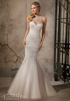 Wedding Gowns by Morilee featuring Artistic Embroidered Appliques on Net with Crystal Beading Available in White/Silver, Ivory/Silver, Cafe/Silver