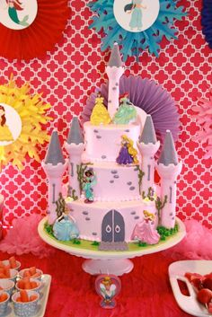 Disney Princess girl Birthday Party cake! See more party planning ideas at CatchMyParty.com!