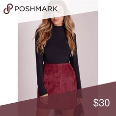 •{ m i s s g u i d e d}• Maroon suede mini skirt. Size 6. Missguided Skirts Mini
