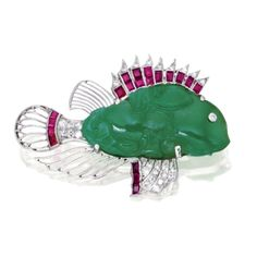 Platinum, Jadeite, Ruby and Diamond Fish Brooch | lot | Sotheby's