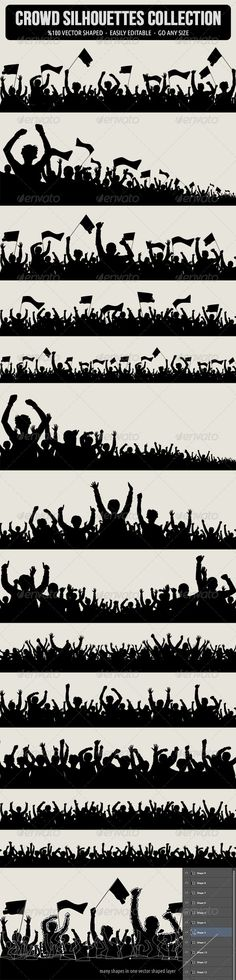 Crowd Silhouettes — Photoshop PSD #spectator #concept • Available here → https://graphicriver.net/item/crowd-silhouettes/5420472?ref=pxcr