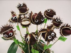This looks so cool - insert the sticks before they open, watch and wait and then put the eyes on once the conkers are revealed! More pictures in the link Fun Crafts For Kids, Diy For Kids, Diy And Crafts, Halloween Crafts, Halloween Decorations, Christmas Crafts, Autumn Crafts, Nature Crafts, Conkers