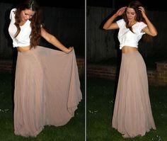 White baggy crop top, nude peachy maxi skirt