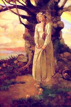 """Goddess Idun, guardian of the """"apple of youth"""" that she provided to the Gods.  She and her apples were stolen by Loki--who had to surrender both when his life was threatened by an eagle.  PS:  Go . . . .Eve  How do you like them apples?"""