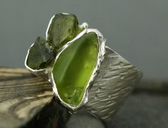 Peridot Crystals in Sterling Silver Ring by Specimental on Etsy, $240.00