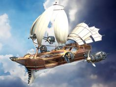 26 ideas steampunk concept art fantasy for 2019 Chat Steampunk, Steampunk Ship, Steampunk Design, Sci Fi Fantasy, Fantasy World, Zeppelin, Dirigible Steampunk, Game Design, The Pirates