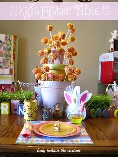 Kids Easter Table with a Cake Pop Tower Centerpiece - Lady Behind The Curtain