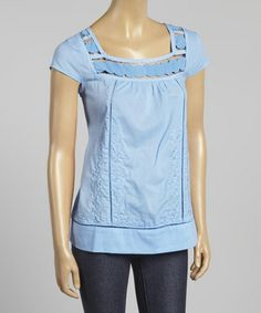 Look what I found on #zulily! Blue Crocheted Cap-Sleeve Top by Simply Irresistible #zulilyfinds