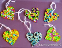 Melted beads Valentines hearts from cookie cutters