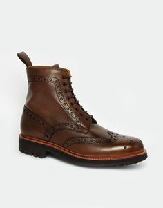 $418, Brown Leather Brogue Boots: Grenson Fred Commando Brogue Boots Brown. Sold by Asos. Click for more info: http://lookastic.com/men/shop_items/85859/redirect