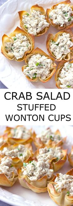 Crab Salad Stuffed Wonton Cups are an easy appetizer that can be made ahead of time. They would be perfect for any holiday party!