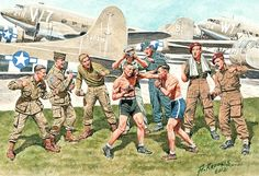 """""""Friendly boxing match. British and American paratroopers"""", Andrei Karashchuk"""