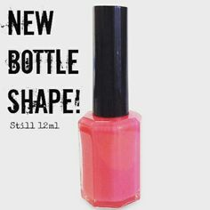 It's the same size as the old tear drop one, but it's just octagonal. We just wanted to make this post to let you know that any nail polish purchased on our Etsy shop from here on will be put into these bottles, despite the images of swatches on our shop.