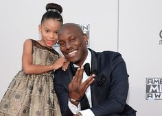 Tyrese Gibson and daughter at the AMAs red carpet November 2015