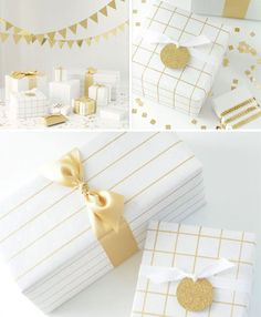Fun and EASY! Plain gift paper and draw lines with metallic pen, like the new gold-silver-copper Sharpies