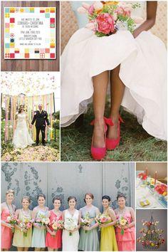 Bright Pink and Mustard Spring Wedding Inspiration Board MarryMeMetro.com