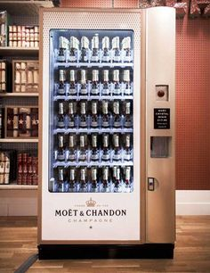Moet and Chandon Vending Machine at Selfridges, London. Bubbly at the push of a button.